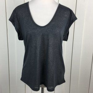 H&M Gray Metallic T-Shirt Cap Sleeve